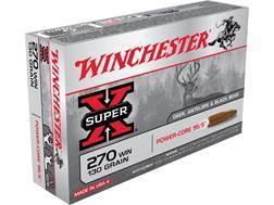 Winchester Super-X Power-Core 95/5 Ammunition 270 Winchester 130 Grain Hollow Point Boat Tail Lea...