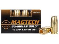 Magtech Guardian Gold Ammunition 45 GAP 230 Grain Jacketed Hollow Point Box of 20