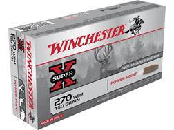 Winchester Super-X Ammunition 270 Winchester Short Magnum (WSM) 150 Grain Power-Point