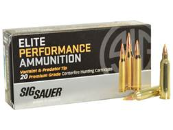 Sig Sauer Elite Performance Varmint and Predator Ammunition 22-250 Remington 40 Grain Tipped Holl...