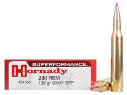 Hornady Superformance GMX Ammunition 280 Remington 139 Grain GMX Boat Tail Lead-Free Box of 20