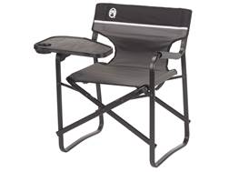 Coleman Deck Chair with Swivel Table Polyester and Aluminum Grey and Black