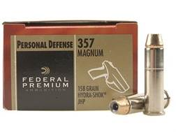 Federal Premium Personal Defense Ammunition 357 Magnum 158 Grain Hydra-Shok Jacketed Hollow Point...