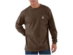 Carhartt Men's Workwear Pocket T-Shirt Long Sleeve Cotton Dark Brown 3XL