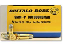 Buffalo Bore Ammunition Outdoorsman 9mm Luger +P 147 Grain Hard Cast Lead Flat Nose Box of 20