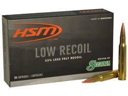 HSM Low Recoil Ammunition 30-06 Springfield 150 Grain Sierra Tipped Spitzer Boat Tail Box of 20