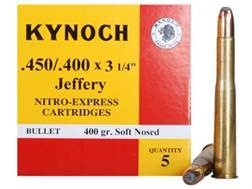 "Kynoch Ammunition 450-400 Nitro Express 3-1/4"" (408 Diameter) 400 Grain Woodleigh Weldcore Soft P..."