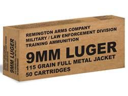 Remington Military/Law Enforcement Training Ammunition 9mm Luger 115 Grain Full Metal Jacket