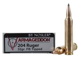 Nosler Varmageddon Ammunition 204 Ruger 32 Grain Tipped Flat Base Box of 20