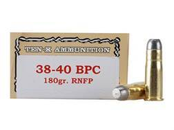 Ten-X Cowboy Ammunition 38-40 WCF 180 Grain Lead Round Nose Flat Point BPC Box of 50