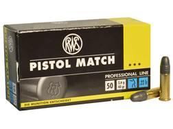 RWS Pistol Match Ammunition 22 Long Rifle 40 Grain Lead Round Nose