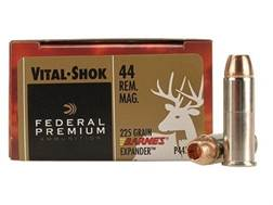 Federal Premium Vital-Shok Ammunition 44 Remington Magnum 225 Grain Barnes XPB Hollow Point Lead-...