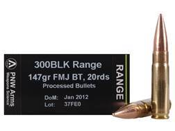 PNW Arms Ammunition 300 AAC Blackout 147 Grain Full Metal Jacket (Bi-Metal) Boat Tail Box of 20