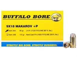 Buffalo Bore Ammunition 9x18mm (9mm Makarov) 95 Grain Jacketed Hollow Point Box of 20