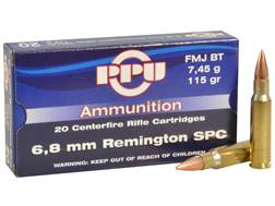 Prvi Partizan Ammunition 6.8mm Remington SPC 115 Grain Full Metal Jacket Boat Tail Box of 20
