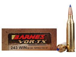 Barnes VOR-TX Ammunition 243 Winchester 80 Grain Tipped Triple-Shock X Bullet Boat Tail Lead-Free...