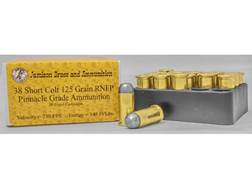 Jamison Ammunition 38 Short Colt 125 Grain Round Nose Flat Point Box of 20