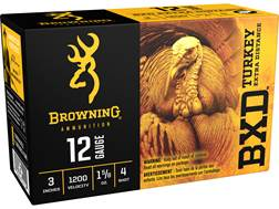 "Browning BXD Extra Distance Turkey Ammunition 12 Gauge 3"" 1-5/8 oz #4 Nickel Plated Shot"