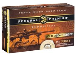 Federal Premium Gold Medal Berger Ammunition 6.5 Grendel 130 Grain Berger Hybrid Open Tip Match B...