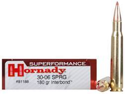Hornady Superformance Ammunition 30-06 Springfield 180 Grain InterBond Boat Tail Box of 20