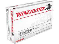 Winchester USA Ammunition 6.5x55mm Swedish Mauser 140 Grain Full Metal Jacket