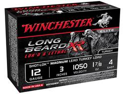 "Winchester Long Beard XR Turkey Ammunition 12 Gauge 3"" 1-7/8 oz #4 Copper Plated Shot Box of 10"