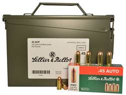 Sellier & Bellot Ammunition 45 ACP 230 Grain Full Metal Jacket Ammo Can of 500 (10 Boxes of 50)