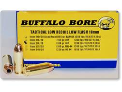 Buffalo Bore Tactical Low Recoil Ammunition 10mm Auto 180 Grain Jacketed Hollow Point Low Flash B...