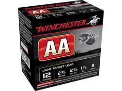 """Winchester AA Light Target Ammunition 12 Gauge 2-3/4"""" 1-1/8 oz #8 Shot"""