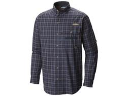 Columbia Men's Super Sharptail Button-Up Shirt Long Sleeve Cotton India Ink Plaid Medium