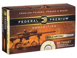 Federal Premium Gold Medal Berger Ammunition 308 Winchester 185 Grain Berger Juggernaut Open Tip ...