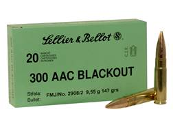 Sellier & Bellot Ammunition 300 AAC Blackout 147 Grain Full Metal Jacket Box of 20