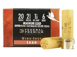 "Federal Premium Wing-Shok Ammunition 20 Gauge 2-3/4"" 1-1/8 oz Buffered #6 Copper Plated Shot Box ..."