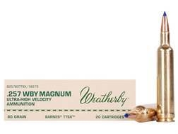 Weatherby Ammunition 257 Weatherby Magnum 80 Grain Barnes Tipped Triple-Shock X Bullet Lead-Free ...