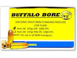 Buffalo Bore Ammunition 9mm Luger Subsonic 147 Grain Jacketed Hollow Point Low Flash Box of 20