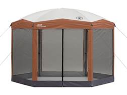 "Coleman 144"" x 120"" Hexagon Screened Instant Shelter Orange and Tan"
