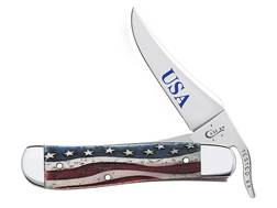 "Case Star Spangled Russlock Folding Knife 4.25"" Clip Point Stainless Steel Blade Embellished Smoo..."