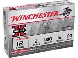 """Winchester Super-X Ammunition 12 Gauge 3"""" Buffered 00 Buckshot 15 Pellets Box of 5"""