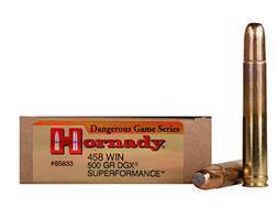 Hornady Dangerous Game Superformance Ammunition 458 Winchester Magnum 500 Grain Flat Nose Expandi...