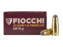 Fiocchi Ammunition 30 Luger 93 Grain Jacketed Soft Point Box of 50