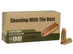 IMI Ammunition 9mm Luger 115 Grain Di-Cut Jacketed Hollow Point Box of 50