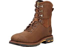 "Ariat Workhog 8"" Waterproof Square Composite Safety Toe Work Boots Leather Oily Distressed Brown ..."