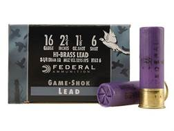 "Federal Game-Shok Hi-Brass Ammunition 16 Gauge 2-3/4"" 1-1/8 oz #6 Shot Box of 25"