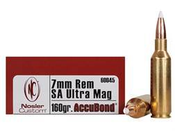 Nosler Trophy Grade Ammunition 7mm Remington Short Action Ultra Magnum 160 Grain AccuBond Box of 20