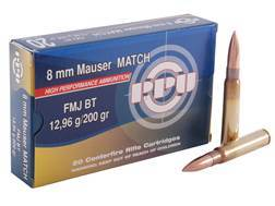 Prvi Partizan Match Ammunition 8x57mm JS Mauser (8mm Mauser) 200 Grain Full Metal Jacket Box of 20