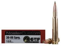 Nosler Trophy Grade Ammunition 30-06 Springfield 168 Grain E-Tip Lead-Free Box of 20