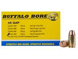 Buffalo Bore Ammunition 45 GAP 230 Grain Full Metal Jacket Flat Nose Box of 20