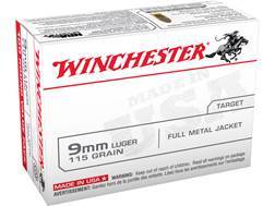 Winchester USA Ammunition 9mm Luger 115 Grain Full Metal Jacket