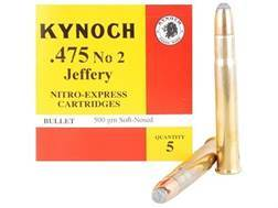 Kynoch Ammunition 475 Number 2 Jeffery 500 Grain Woodleigh Welded Core Soft Point Box of 5