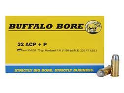 Buffalo Bore Ammunition 32 ACP +P 75 Grain Hard Cast Lead Flat Nose Box of 20
